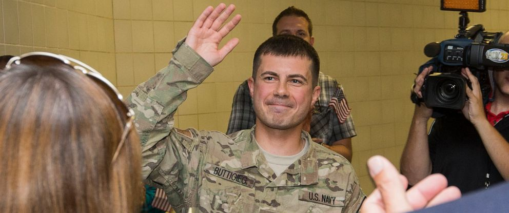 PHOTO: South Bend Mayor Pete Buttigieg is welcomed Thursday, Sept. 25, 2014, at South Bend International Airport after returning from a seven-month tour of duty with the U.S. Navy in Afghanistan.