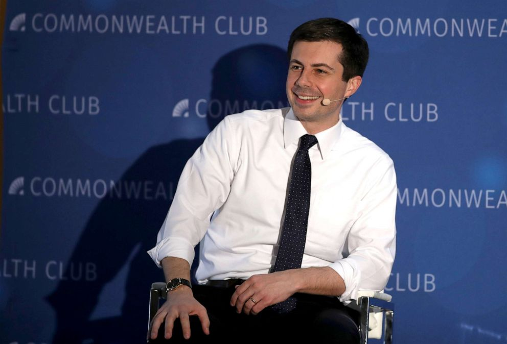 Democratic presidential hopeful South Bend, Indiana mayor Pete Buttigieg speaks at the Commonwealth Club of California, March 28, 2019, in San Francisco.