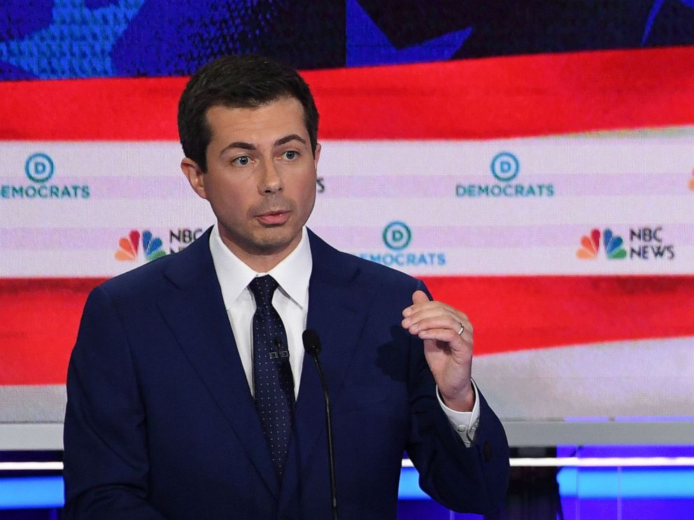 PHOTO: Pete Buttigieg participates in the second night of the first 2020 democratic presidential debate at the Adrienne Arsht Center for the Performing Arts in Miami, June 27, 2019.