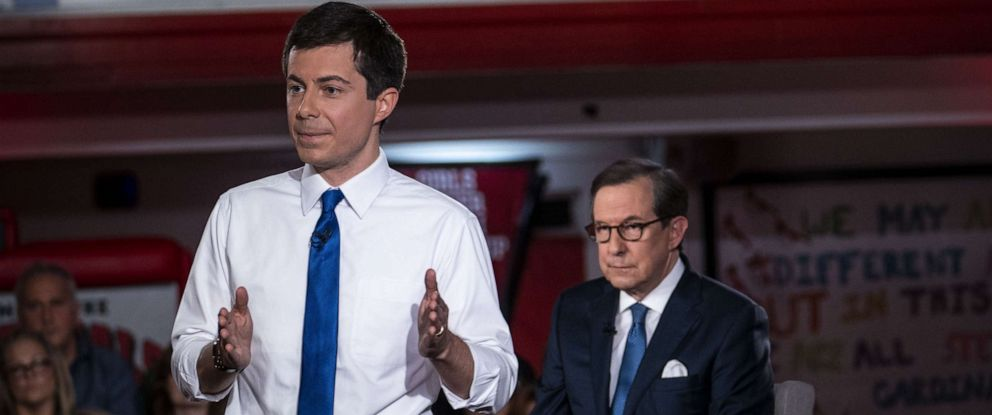 PHOTO: Mayor Pete Buttigieg speaks during a town hall with Fox News Channel, May 18, 2019, in Claremont, New Hampshire.