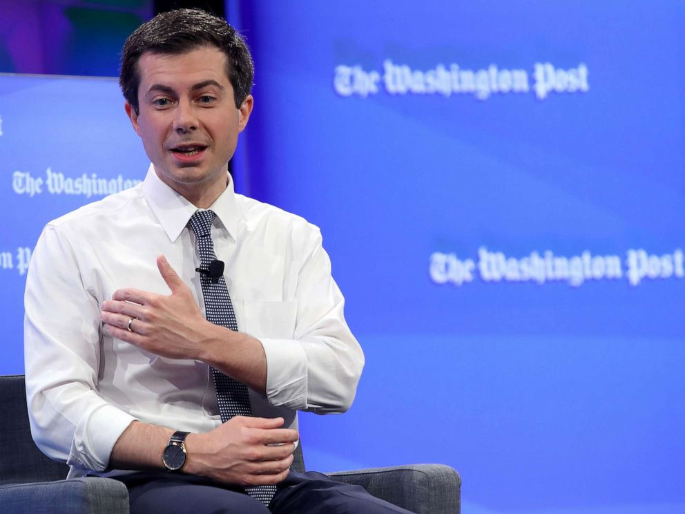 PHOTO: Democratic presidential candidate Mayor Pete Buttigieg answers questions at a Washington Post Live discussion, May 23, 2019, in Washington, DC.