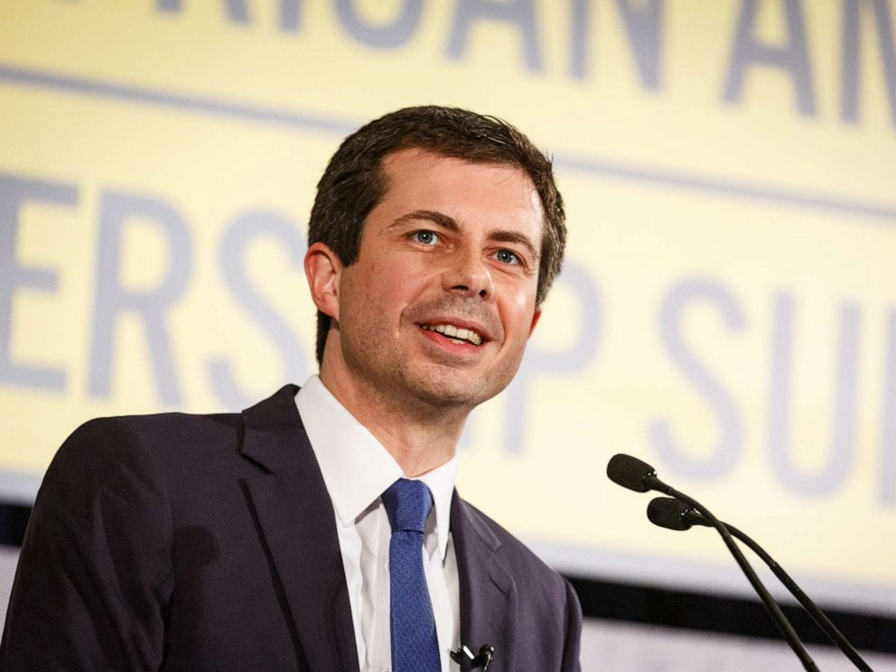 PHOTO: Democratic presidential candidate Mayor Pete Buttigieg speaks to a crowd at the African American Leadership Council, June 6, 2019, in Atlanta.