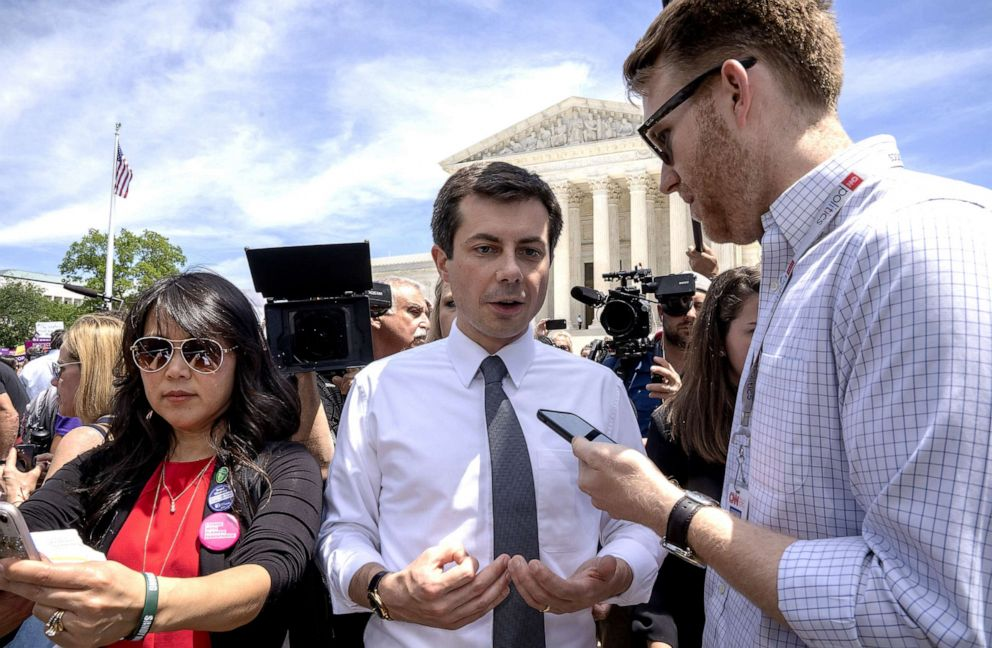 PHOTO: Democratic presidential candidate and mayor of South Bend, In., Pete Buttigieg, speaks to a reporter at a pro-choice rally at the Supreme Court on May 21, 2019, in Washington, D.C.