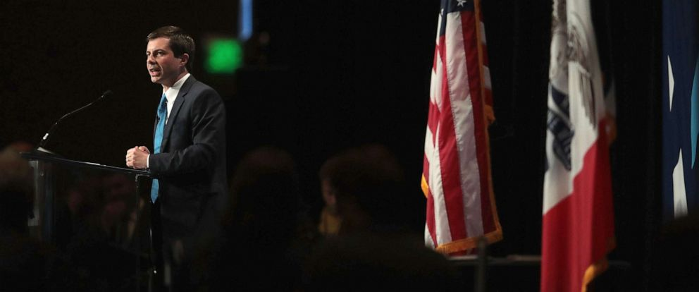 PHOTO: Democratic presidential candidate and South Bend, Indiana Mayor Pete Buttigieg speaks at the Iowa Democratic Partys Hall of Fame Dinner, June 9, 2019 in Cedar Rapids, Iowa.