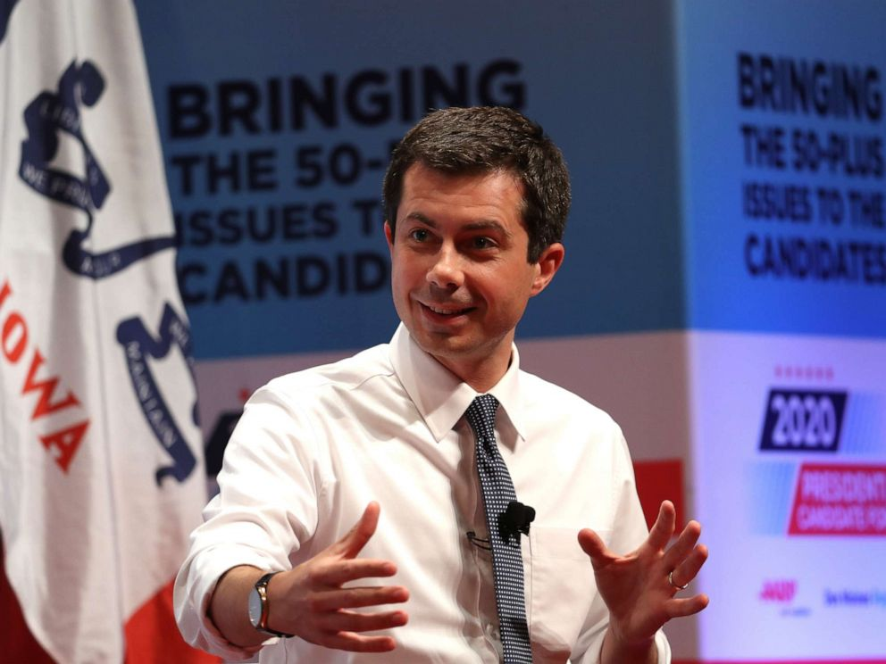 PHOTO: Democratic presidential hopeful South Bend Indiana mayor Pete Buttigieg speaks during the AARP and The Des Moines Register Iowa Presidential Candidate Forum on July 20, 2019 in Council Bluffs, Iowa.