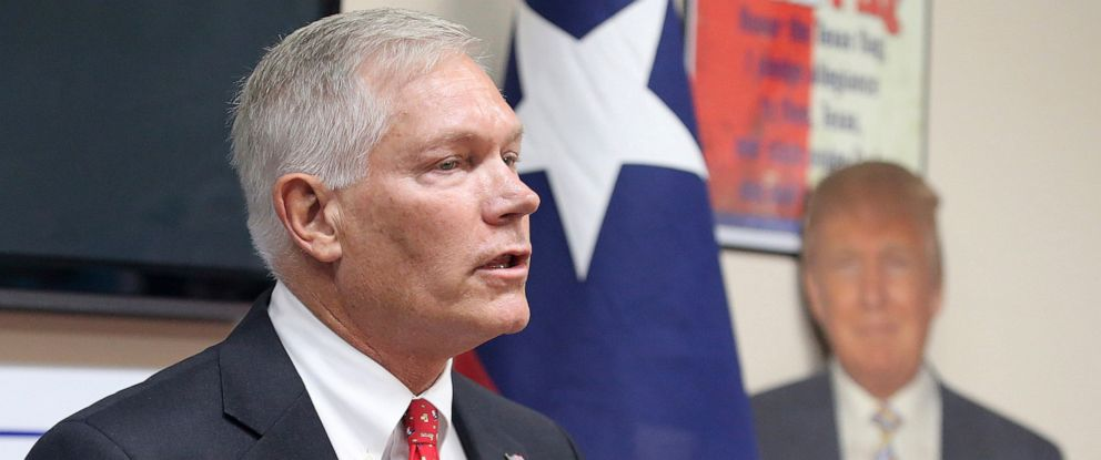 PHOTO: Former US Rep. Pete Sessions speaks to the McLennan County Republican Party Thursday, Oct. 3, 2019, in Waco, Texas.