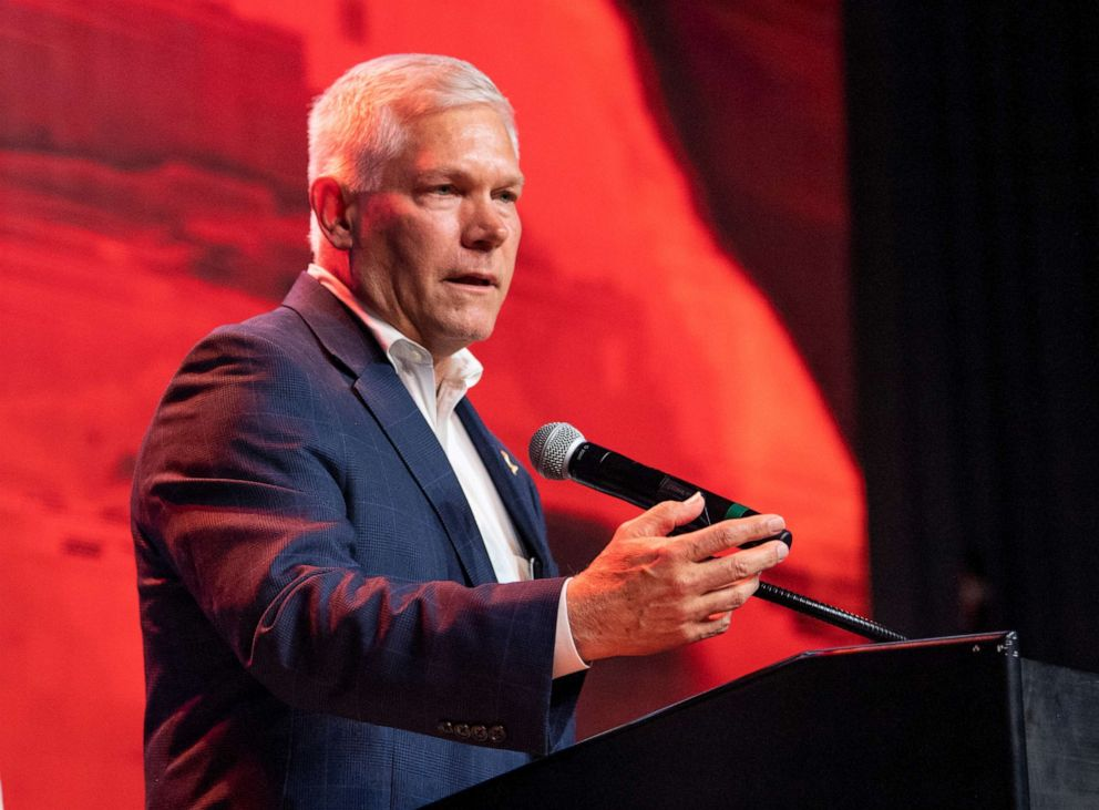 PHOTO: Incumbent Rep Pete Sessions speaks to supporters after conceding the U.S. House race to Democratic challenger and first-time candidate Colin Allred during the Dallas County Republican Party election night watch party on Nov. 6, 2018, in Dallas.