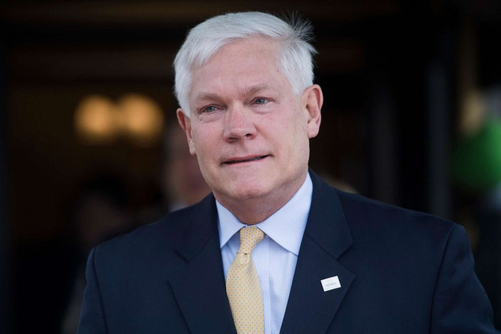 PHOTO: Rep. Pete Sessions, R-Texas, leaves a meeting of the GOP Conference at the Capitol Hill Club on April 17, 2018.