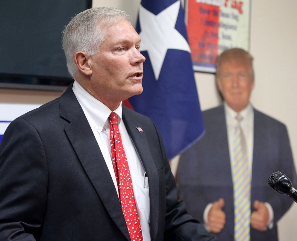 PHOTO: Former Rep. Pete Sessions speak to the McLennan County Republican Party in Waco, Texas, Oct. 3, 2019.