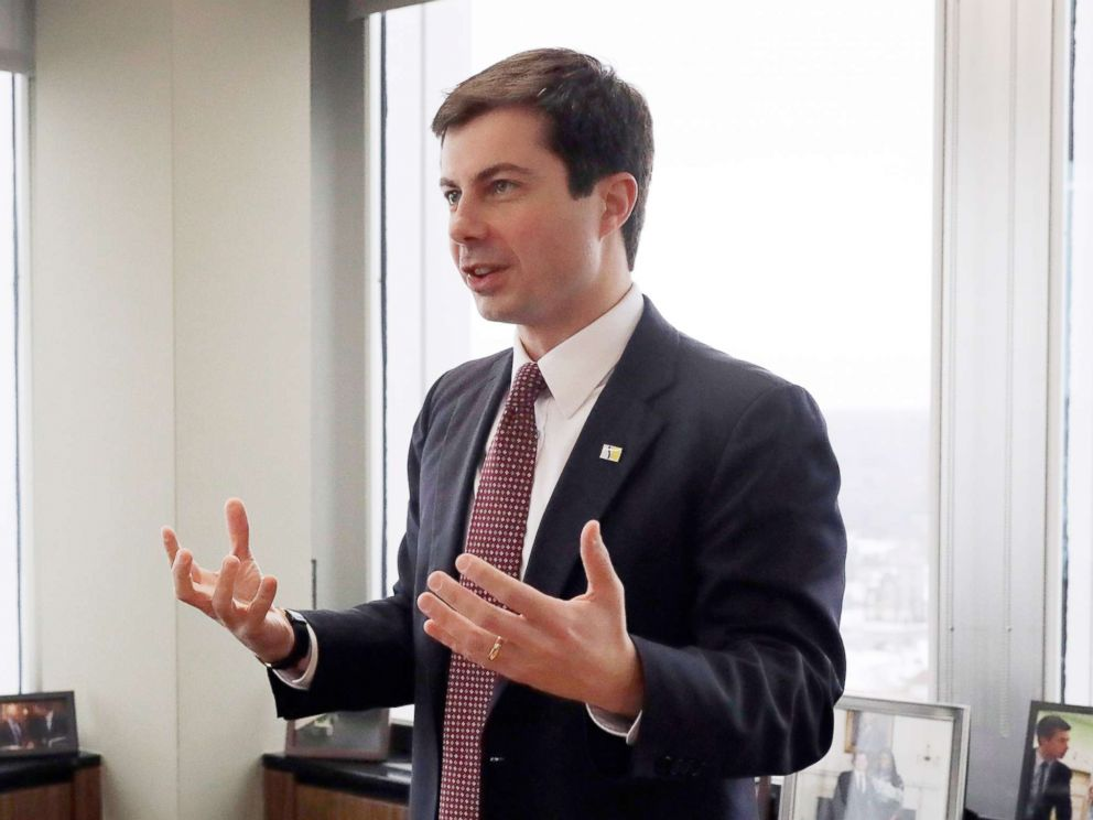PHOTO: Mayor Pete Buttigieg talks with an AP reporter at his office in South Bend, Ind., Thursday, Jan. 10, 2019.