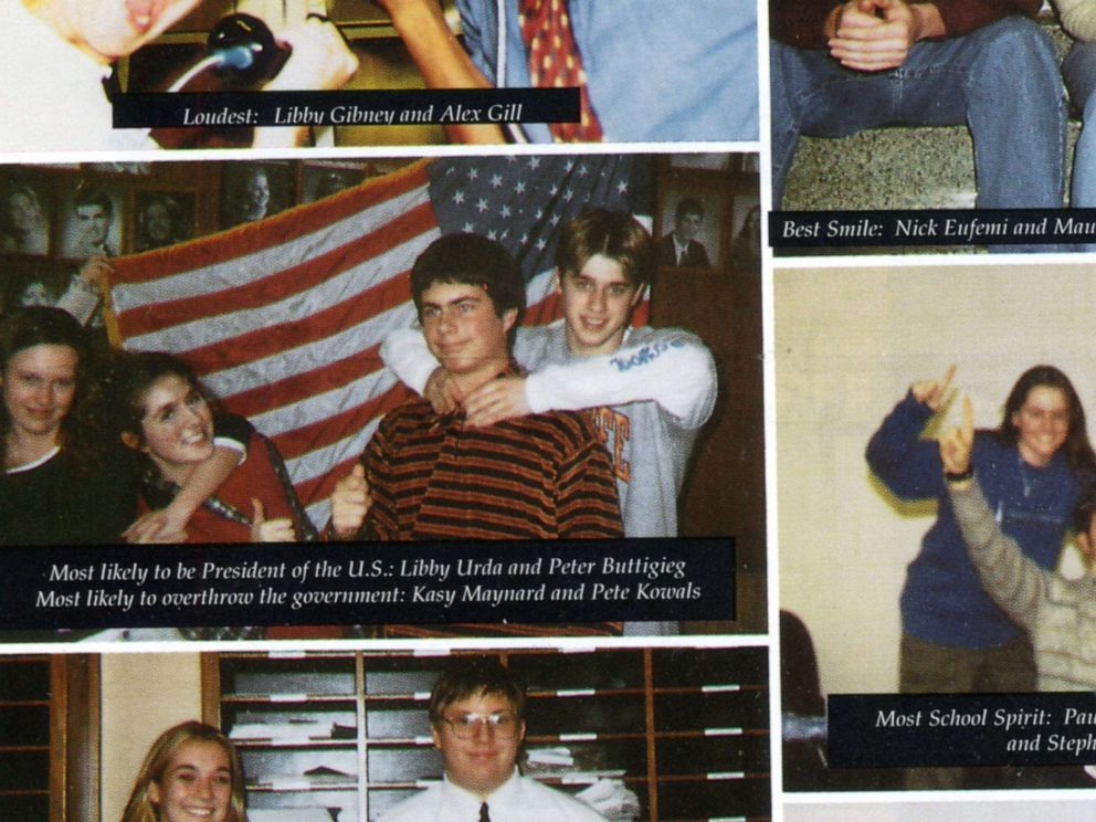 PHOTO: Democratic presidential candidate South Bend, Indiana Mayor Pete Buttigieg is pictured on a page from the 2000 edition of the St. Josephs High School yearbook with a caption calling him Most likely to be President of the U.S.