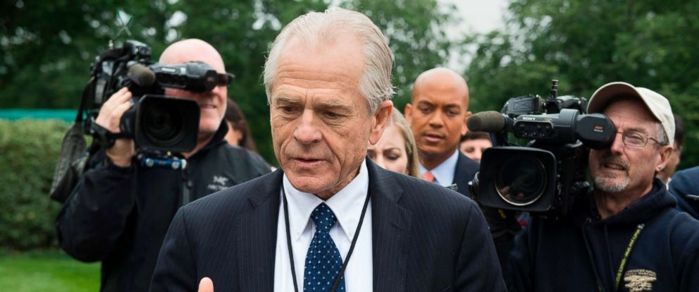 PHOTO: White House Director of Trade Policy Peter Navarro dodges the press after speaking on Fox News at the White House in Washington, D.C., on June 4, 2018.