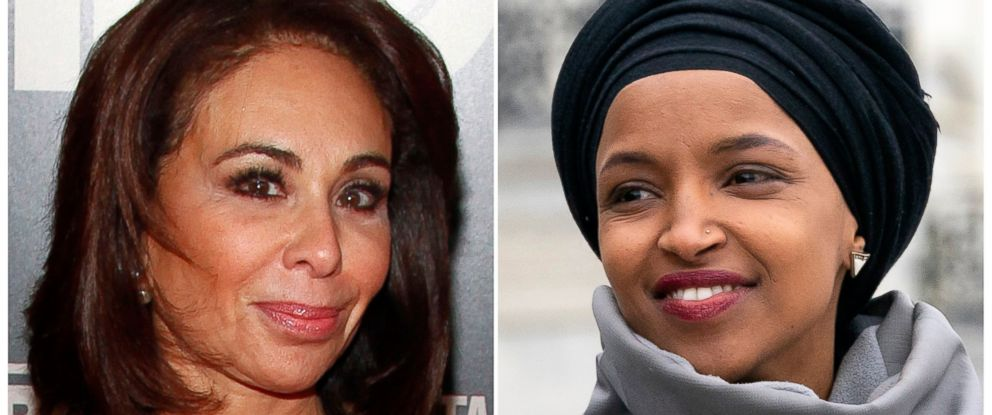 "PHOTO: This combination photo shows Fox News host Jeanine Pirro at the premiere of ""THE JINX: The Life and Deaths of Robert Durst"" in New York on Jan. 28, 2015, left, and Rep. Ilhan Omar, D-Minn., at a rally in Washington on March 8, 2019."
