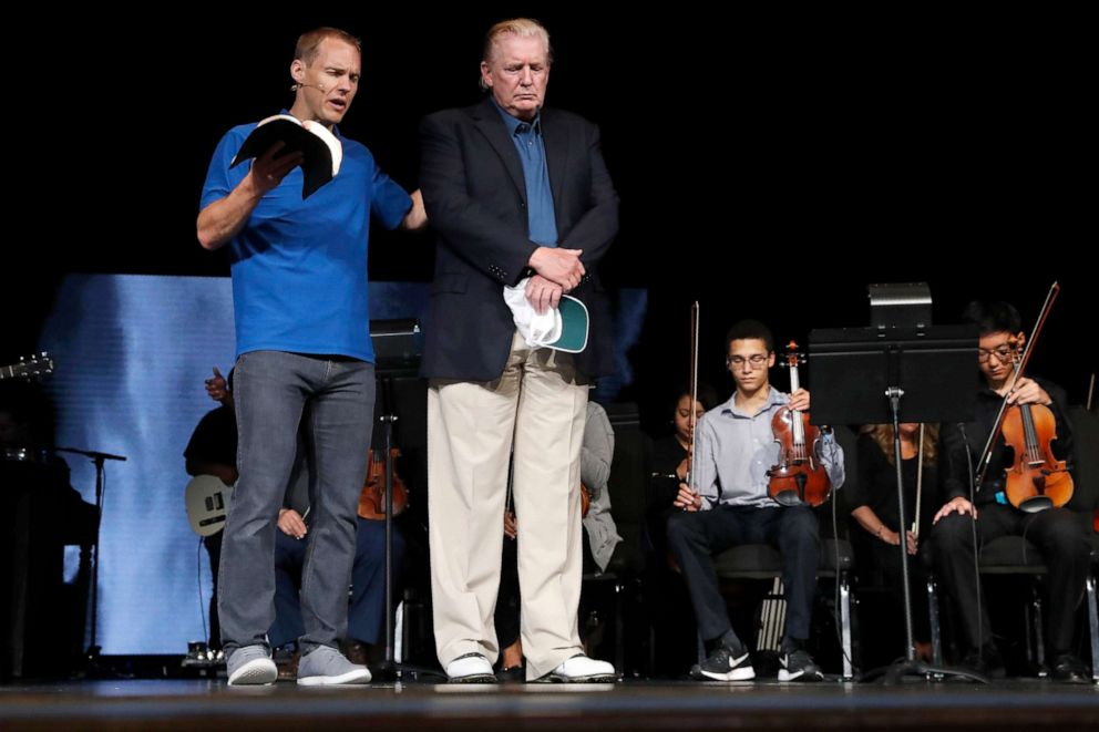 PHOTO: Pastor David Platt, left, prays for President Donald Trump, at McLean Bible Church, in Vienna, Va., June 2, 2019.