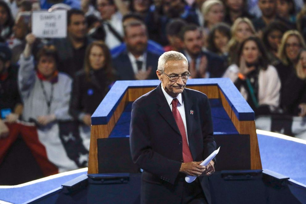 PHOTO: John Podesta, Hillary Clinton campaign chairman, walks off the stage after announcing that Clinton will not be making an appearance at Jacob Javits Center in New York as the votes were still being counted on election night, Nov. 9, 2016.