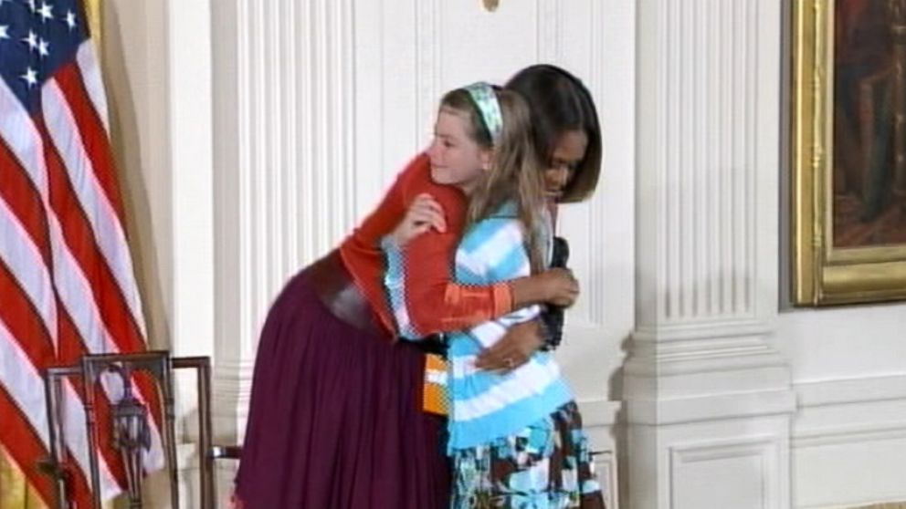 VIDEO: A young guest at a White House event seized the opportunity to act on behalf of her father.