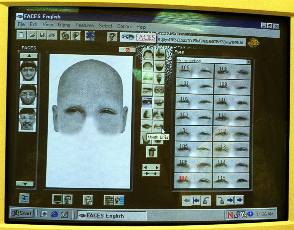 PHOTO: An example of a sketch created by a computer program at MBTA Police headquarters in Boston, Feb. 10, 2000.