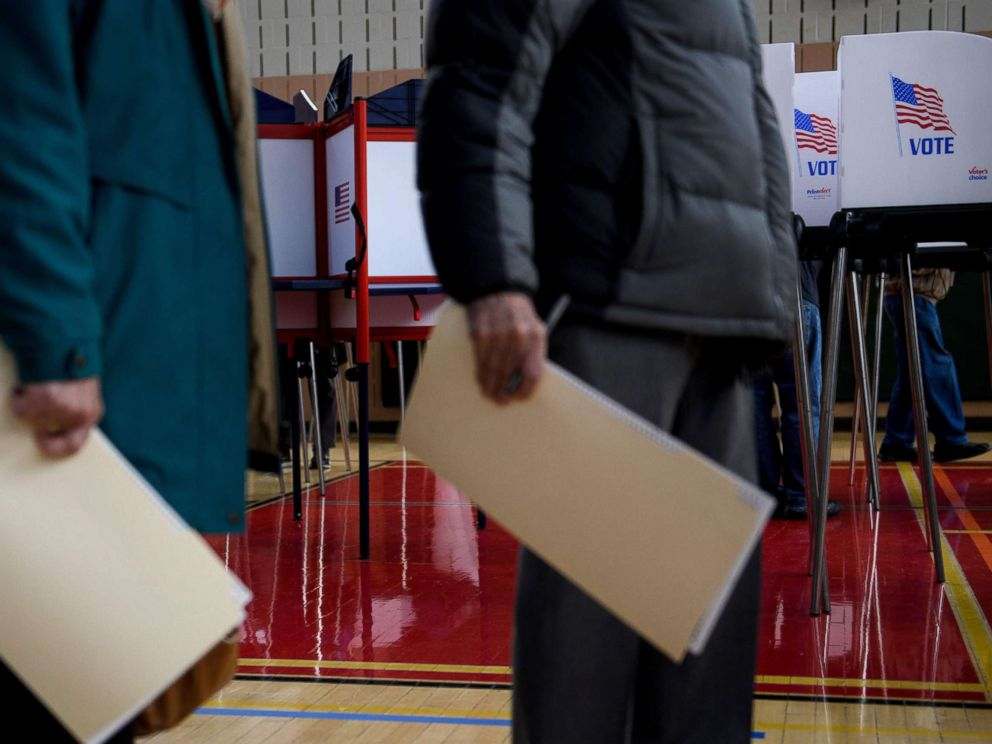 PHOTO: People wait to cast their ballots during early voting at a community center, Oct. 25, 2018, in Potomac, Md., two weeks ahead of the key US midterm polls.