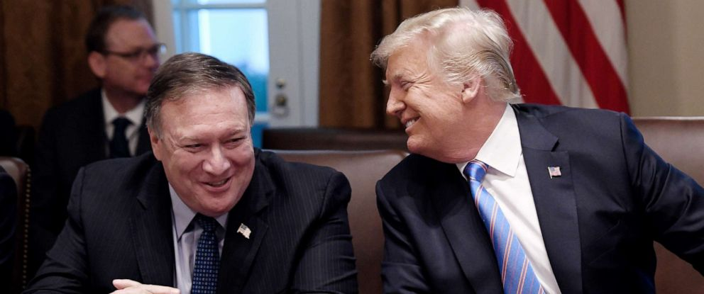 PHOTO: Secretary of State Mike Pompeo and President Trump share a laugh during a cabinet meeting with U.S. President Donald Trump in the Cabinet Room of the White House, July 18, 2018 in Washington, DC.