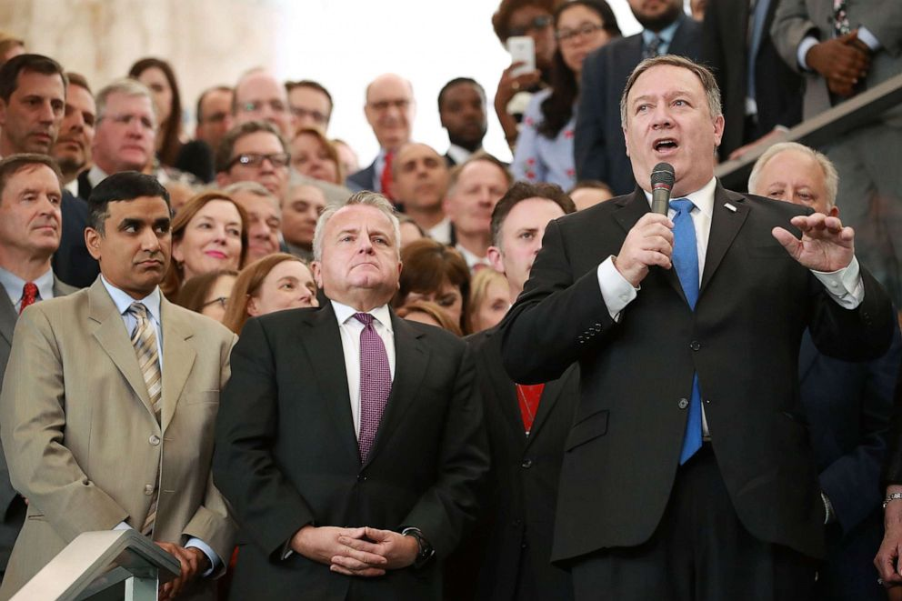 PHOTO: U.S. Secretary of State Mike Pompeo delivers remarks during a welcome ceremony in the lobby of the Harry S. Truman Building May 1, 2018 in Washington.