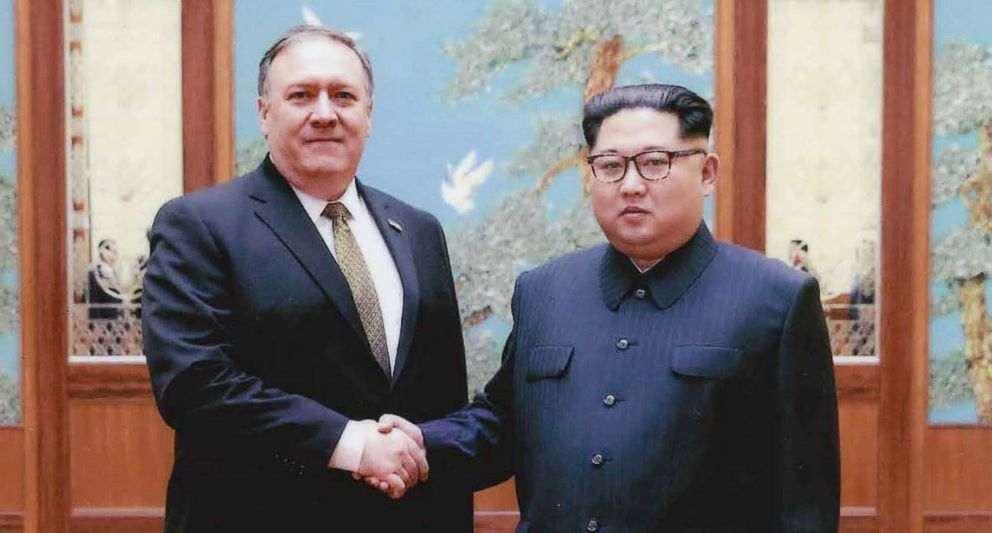 PHOTO: CIA director Mike Pompeo shakes hands with North Korean leader Kim Jong Un in this undated image in Pyongyang, North Korea.