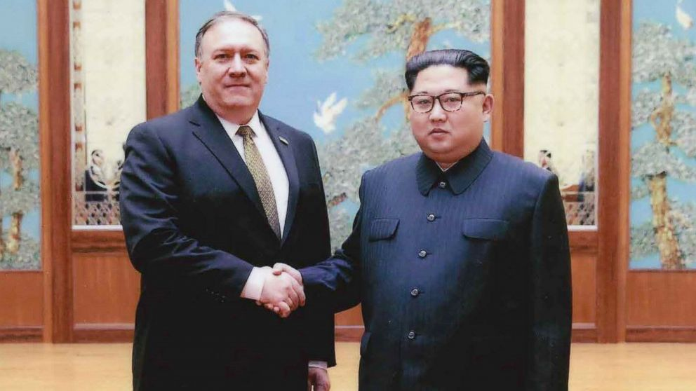 CIA director Mike Pompeo shakes hands with North Korean leader Kim Jong Un in this undated image in Pyongyang, North Korea.