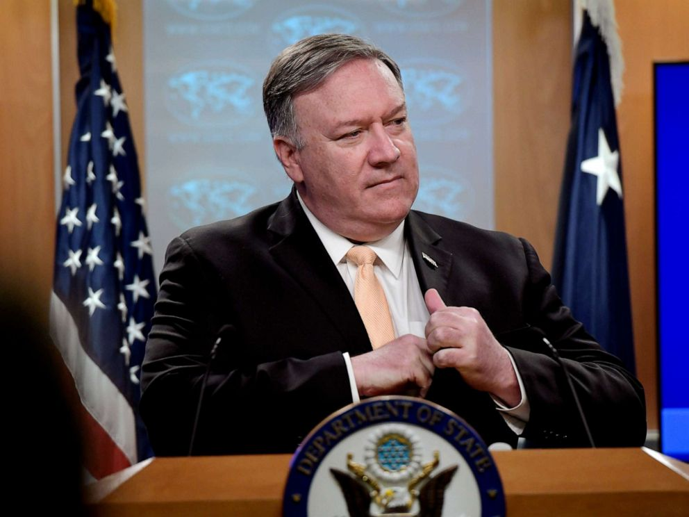 PHOTO: Secretary of State Mike Pompeo speaks during a news conference, April 22, 2019, at the Department of State in Washington, D.C.