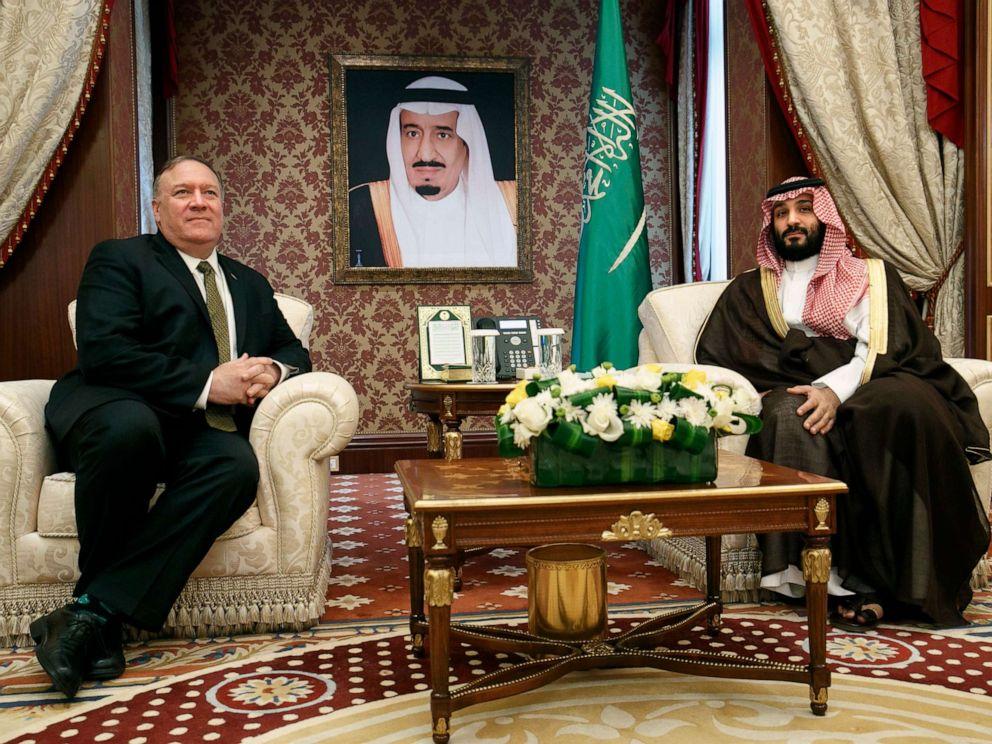 PHOTO: Secretary of State Mike Pompeo meets with Saudi Arabias Crown Prince Mohammed bin Salman, at Al-Salam Palace in Jiddah, Saudi Arabia, June 24, 2019.