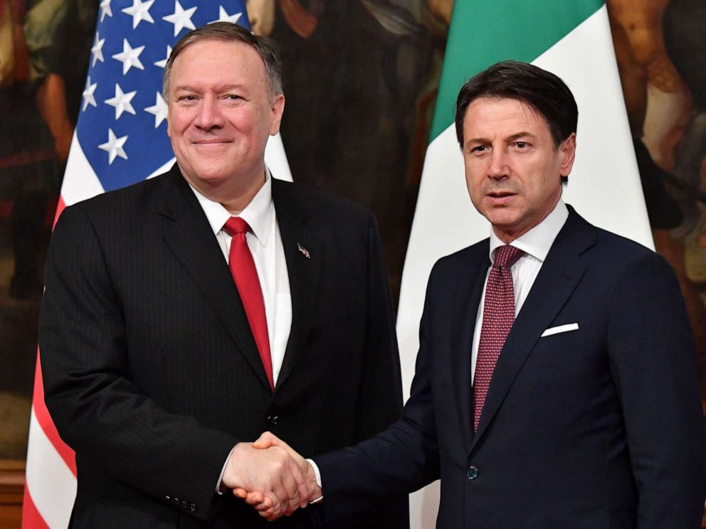 PHOTO: Secretary of State Mike Pompeo and Italys Prime Minister Giuseppe Conte shake hands during their meeting, Oct. 1, 2019, at Palazzo Chigi in Rome.