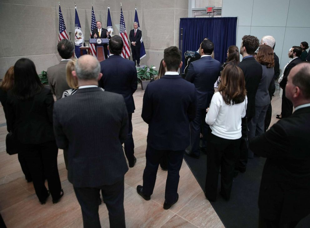 PHOTO: Secretary of State Mike Pompeo delivers remarks during a reception at the State Department April 2, 2019 in Washington, D.C. Secretary Pompeo spoke to families of American citizens held captive abroad at the event.