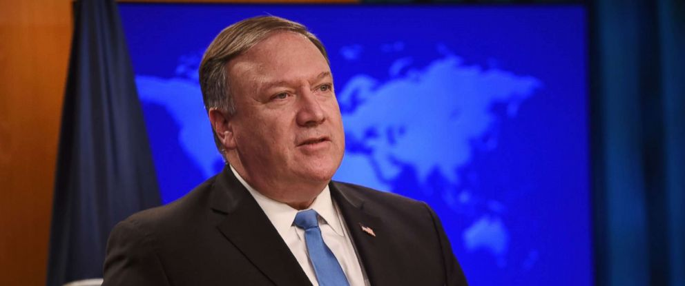 """PHOTO: Secretary of State Mike Pompeo announces the creation of the """"Iran Action Group"""" during a press briefing at the State department in Washington, Aug. 16, 2018."""