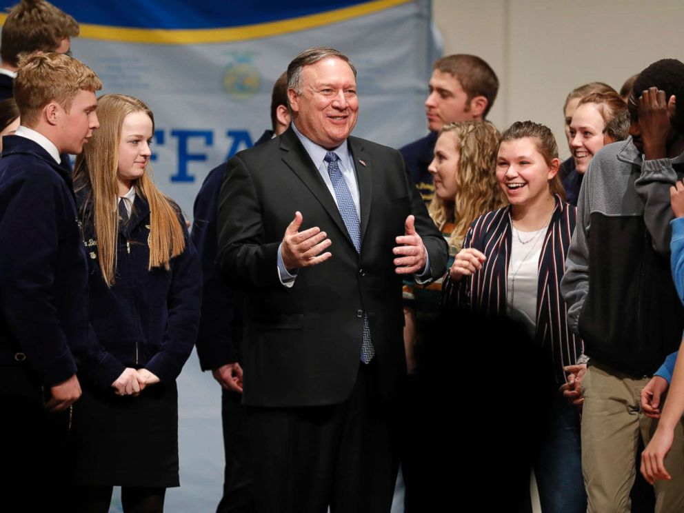 PHOTO: Secretary of State Mike Pompeo, center, talks with students after speaking to the Future Farmers of America and Johnston High School students, March 4, 2019, in Johnston, Iowa.