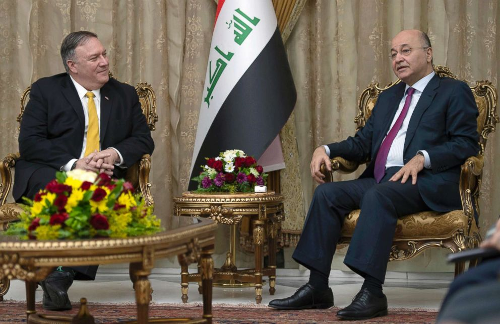 PHOTO: Secretary of State Mike Pompeo meets with Iraqi President Barham Salih, right, in Baghdad, Iraq, Jan. 9, 2019.