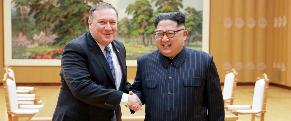 PHOTO: Secretary of State Mike Pompeo, left, shakes hands with North Korean leader Kim Jong Un during a meeting at Workers Party of Korea headquarters in Pyongyang, North Korea.