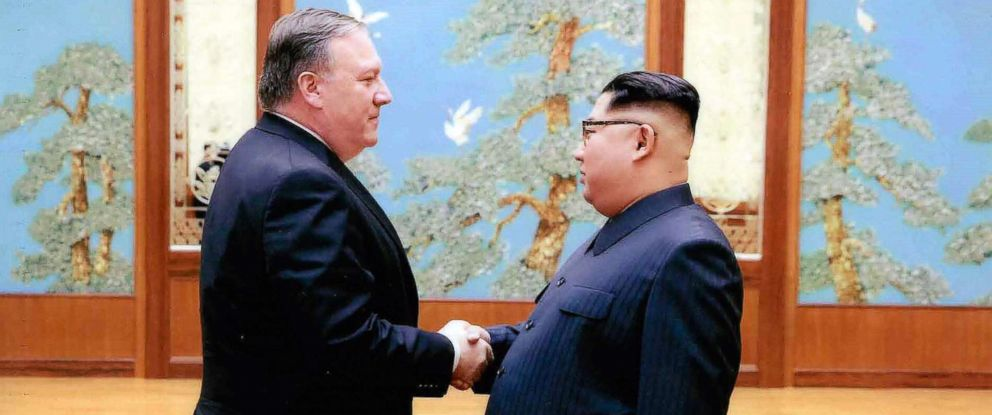 PHOTO: CIA director Mike Pompeo shakes hands with North Korean leader Kim Jong Un in Pyongyang, North Korea, during a 2018 Easter weekend trip in this undated image.