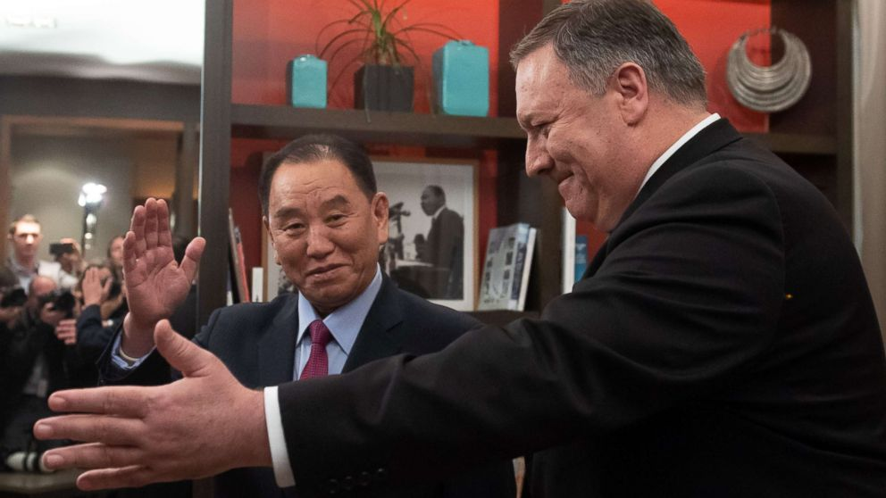 Secretary of State Mike Pompeo welcomes North Korean Vice-Chairman Kim Yong Chol to a meeting in Washington, Jan. 18, 2019.