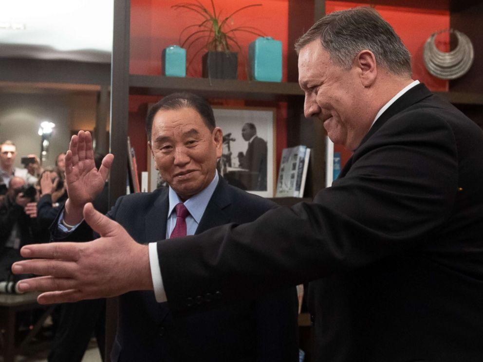 PHOTO: Secretary of State Mike Pompeo welcomes North Korean Vice-Chairman Kim Yong Chol to a meeting in Washington, Jan. 18, 2019.