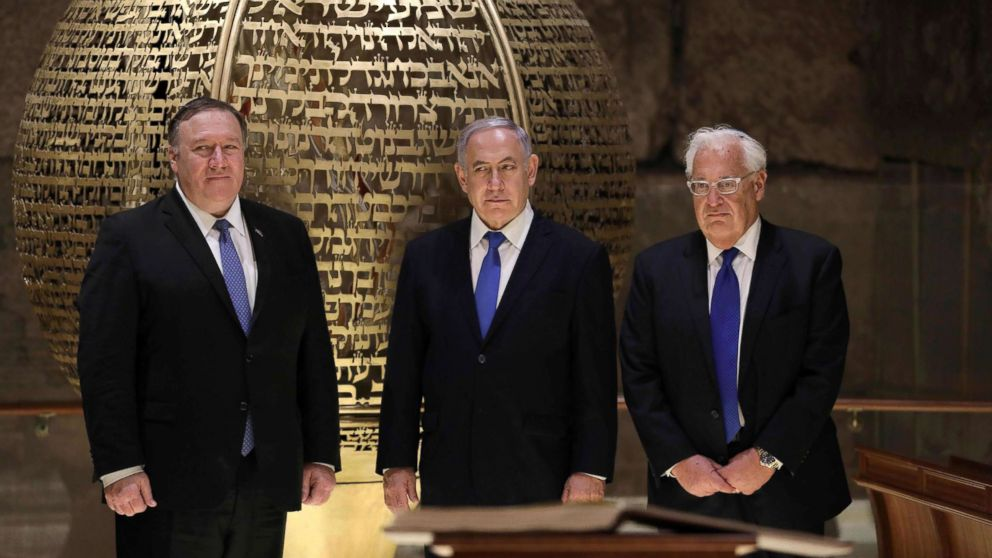 From left, Secretary of State Mike Pompeo, Israeli Prime Minister Benjamin Netanyahu and U.S. Ambassador to Israel David Friedman, visit the Western Wall Tunnels in Jerusalem's Old City on March 21, 2019.