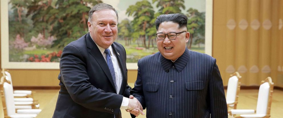 PHOTO: North Korean leader Kim Jong Un and US Secretary of State Mike Pompeo shaking hands at the Workers Party of Korea headquarters in Pyongyang, North Korea, May 8, 2018.