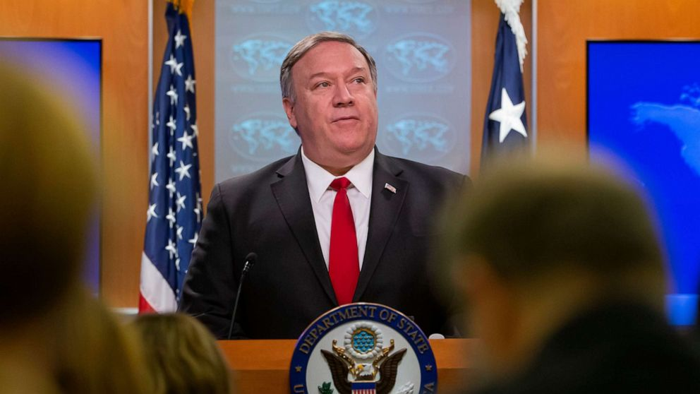Secretary of State Mike Pompeo speaks at the State Department in Washington, D.C, March 26, 2019. Pompeo announced the US will not assist nongovernmental organizations (NGOs) which fund third parties that provide abortions.
