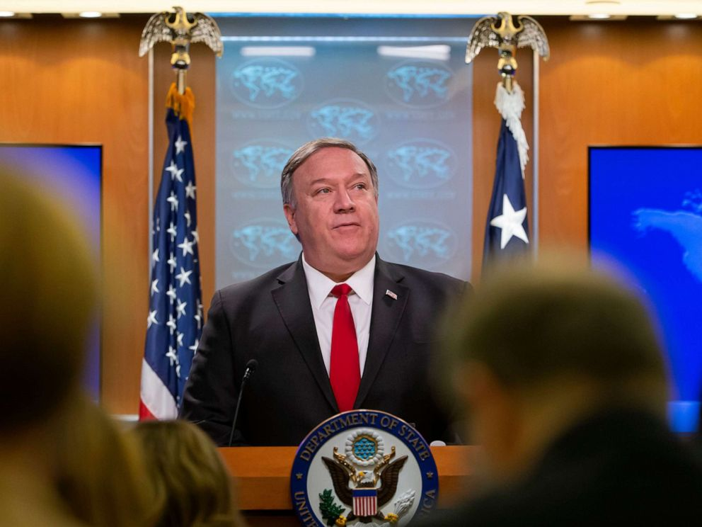 PHOTO: Secretary of State Mike Pompeo speaks at the State Department in Washington, D.C, March 26, 2019.