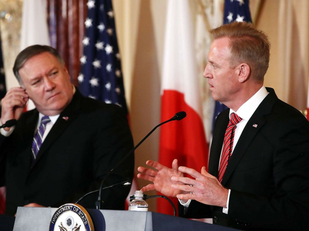 PHOTO: Secretary of State Mike Pompeo (left) and acting Defense Secretary Patrick Shanahan participate in a media availability at the Department of State on April 19, 2019, in Washington, D.C.