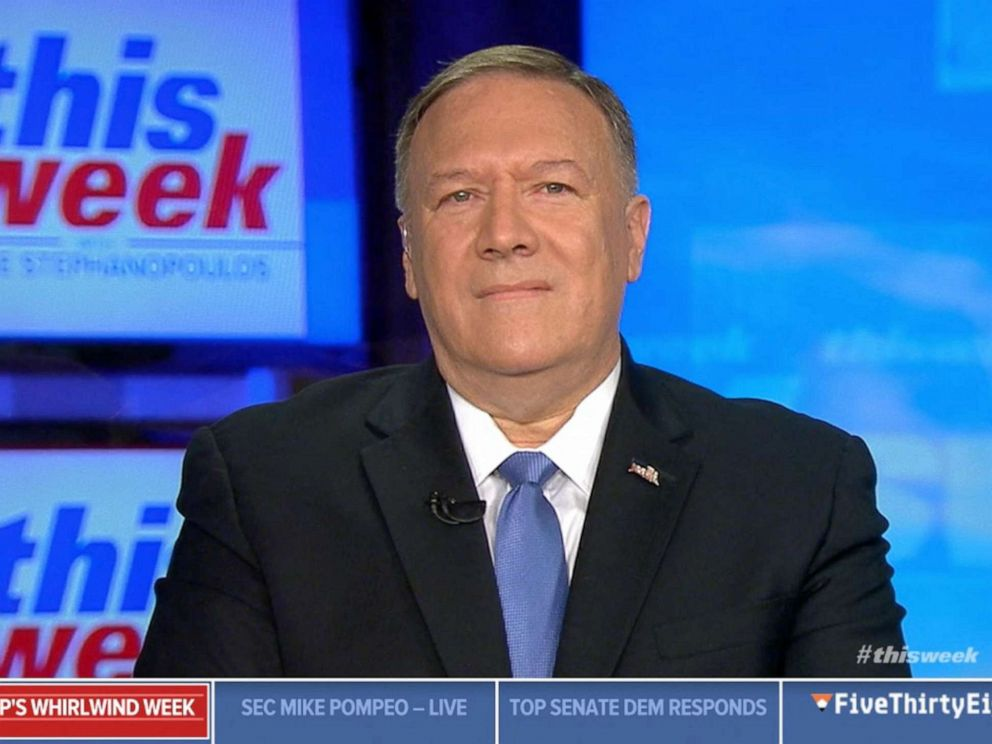 PHOTO: Secretary of State Mike Pompeo appears on ABCs This Week, Oct. 16, 2019.