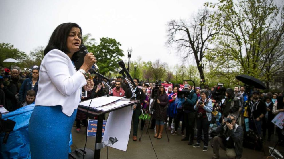 Representative Pramila Jayapal, speaks during a protest outside the U.S. Supreme Court in Washington, D.C., April 25, 2018.