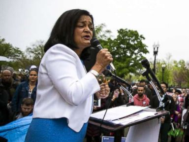 PHOTO: Representative Pramila Jayapal, speaks during a protest outside the U.S. Supreme Court in Washington, D.C., April 25, 2018.