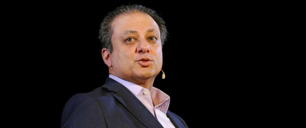 PHOTO: Former U.S. Attorney Preet Bharara speaks onstage during Preet Bharara talks with The New Yorkers Jeffrey Toobin at New York Society for Ethical Culture, Oct. 7, 2017 in New York City.
