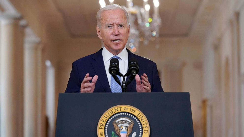 PHOTO: President Joe Biden speaks about the end of the war in Afghanistan from the State Dining Room of the White House, Aug. 31, 2021, in Washington.