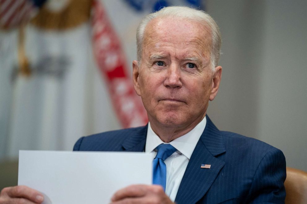 PHOTO: President Joe Biden listens to a question during a meeting on reducing gun violence, in the Roosevelt Room of the White House, July 12, 2021, in Washington.