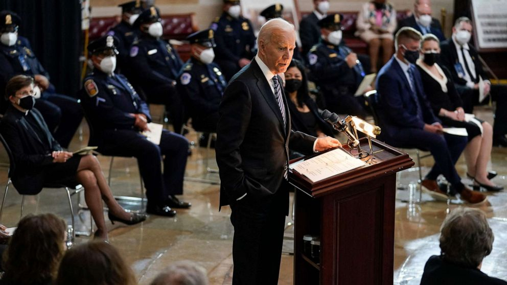 """PHOTO: President Joe Biden speaks during a ceremony to honor slain Capitol Police Officer William """"Billy"""" Evans as he lies in honor at the Capitol in Washington, DC, April 13, 2021."""