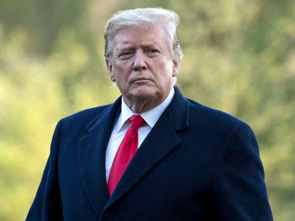 PHOTO: President Donald Trump walks on the South Lawn as he arrives at the White House in Washington, April 15, 2019.